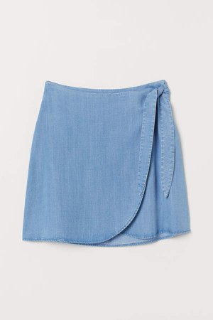 Wrap-front Skirt - Blue