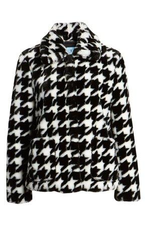 CeCe Faux Fur Houndstooth Jacket | Nordstrom