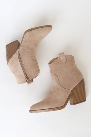 Beige Suede Boots - Pointed Toe Boots - Block Heel Ankle Booties - Lulus