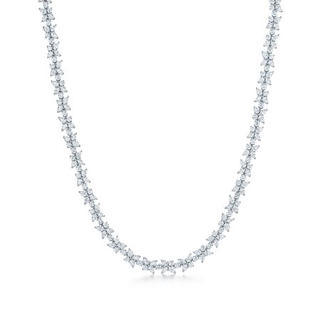 Tiffany Victoria® mixed cluster necklace in platinum with diamonds.   Tiffany & Co.