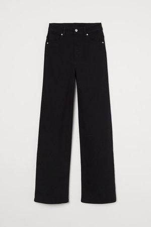 Wide-leg Twill Pants - Black