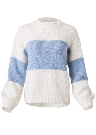 VENUS | Oversized Sweater in White & Blue