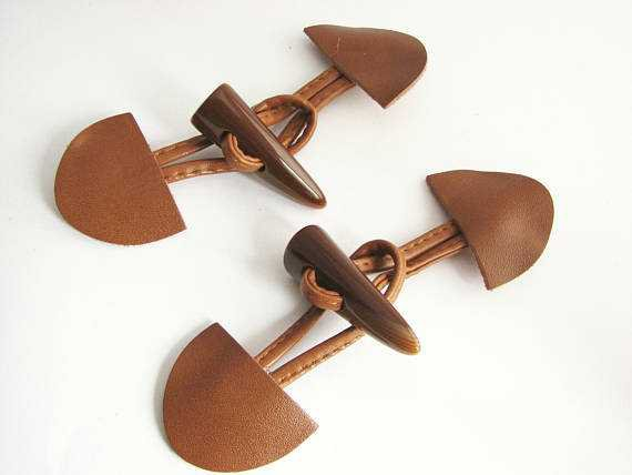 Brown toggle buttons with straps large leather toggles with
