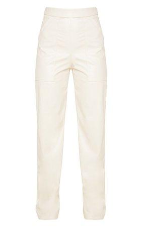 Cream Pocket Faux Leather Straight Leg Trouser | PrettyLittleThing