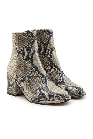 Snakeskin Printed Leather Ankle Boots Gr. IT 37