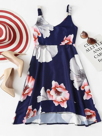 Floral Print Dip Hem Cami Dress