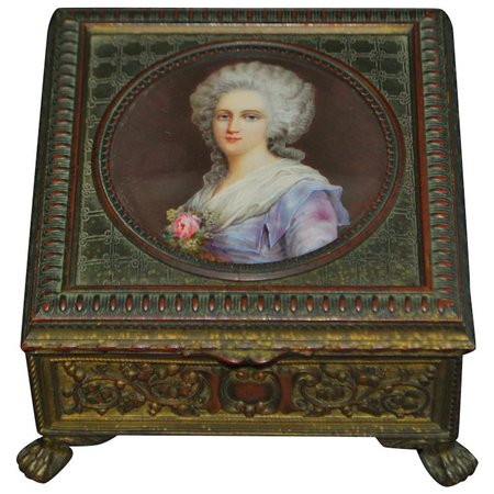 French Gild Bronze Portrait Table Box - Signed Perrin - 1860 : Antique World USA | Ruby Lane