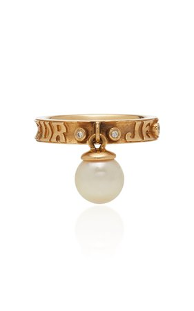 Marlo Laz Dancing Pearl 14K Gold Diamond and Pearl Ring