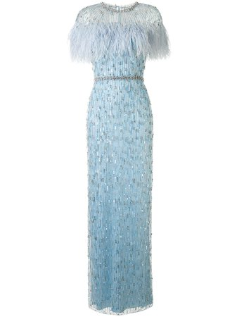 Jenny Packham feather-embellished Column Gown - Farfetch