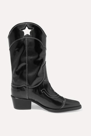 Embroidered Patent-leather Cutout Boots - Black