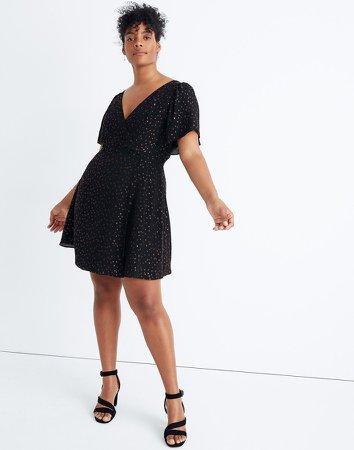 Cape-Sleeve Mini Dress in Metallic Dots