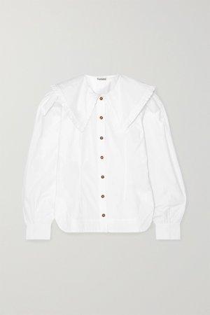 White Ruffle-trimmed cotton-poplin blouse   GANNI   NET-A-PORTER