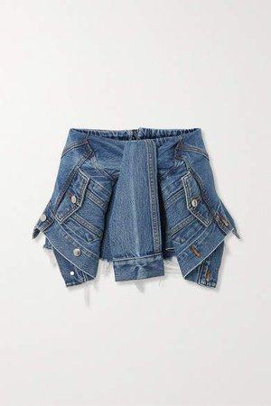Tie-front Distressed Denim Shorts - Mid denim