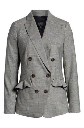 J.Crew Glen Plaid Ruffle Pocket Blazer (Regular, Petite & Plus Size) | Nordstrom