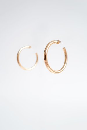 MEDIUM HOOP EARRINGS | ZARA United States golden