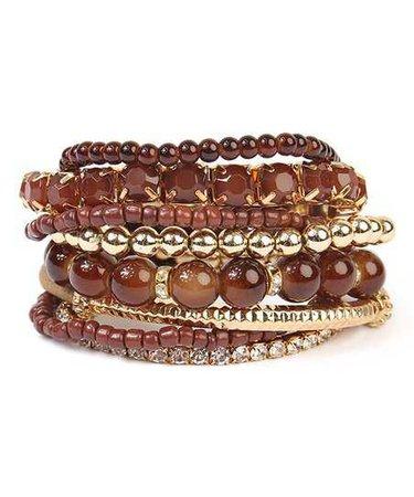 Riah Fashion Brown & Goldtone Medley Stretch Bracelet Set | zulily