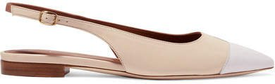 Bianca Color-block Leather Slingback Point-toe Flats - White