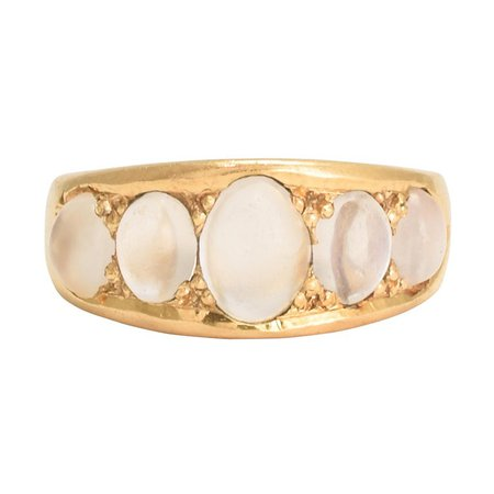 Antique Victorian Moonstone Five-Stone Gold Gypsy Ring at 1stdibs