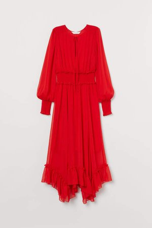 Long Dress with Smocking - Red