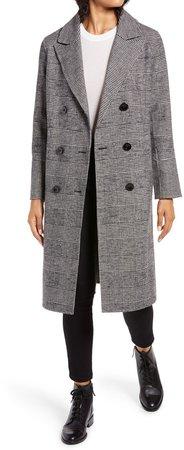 Houndstooth Wool Blend Coat