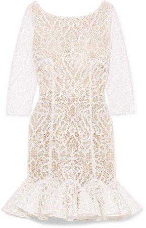 Rime Arodaky - Gillian Ruffled Lace Mini Dress - White