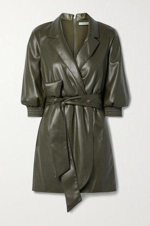 Alice Olivia - Maureen Wrap-effect Belted Vegan Leather Mini Dress - Army green