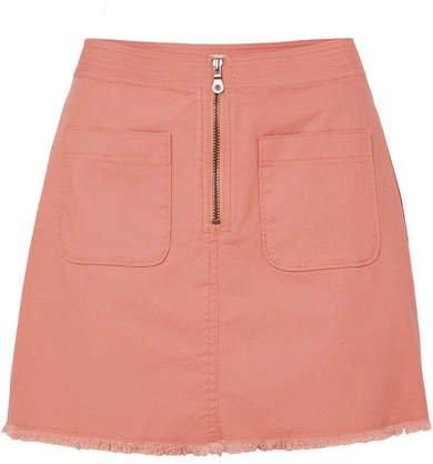 Frayed Denim Mini Skirt - Pink