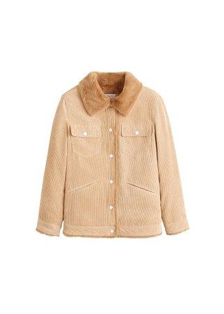 MANGO Fur corduroy jacket