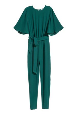 Jumpsuit - Emerald green - Ladies   H&M US