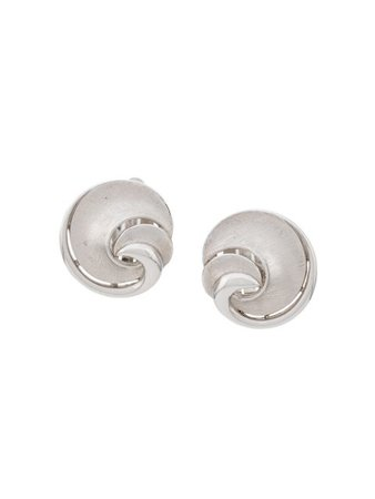 Susan Caplan Vintage 1950's Trifari Swirl Earrings ER018176 Silver | Farfetch