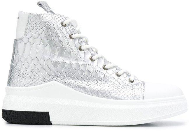 Metallic Snake Embossed Sneakers