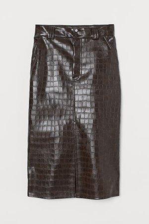Faux Leather Skirt - Brown/crocodile-patterned - Ladies | H&M US