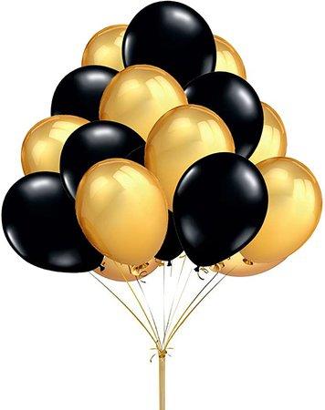 "Amazon.com: Fecedy 12"" 100pcs Gold Black Round Balloons: Toys & Games"