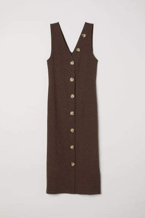 Fitted Dress - Brown