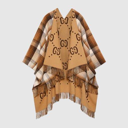 Reversible GG wool poncho - Gucci Women's Scarves 5531184G2009764