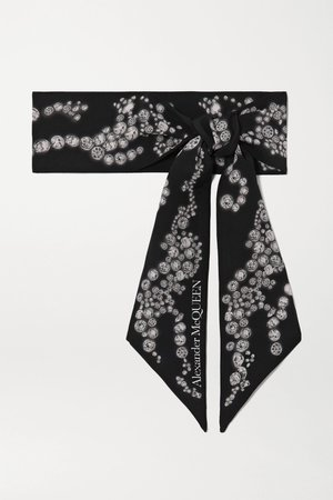Black Printed silk-twill scarf | Alexander McQueen | NET-A-PORTER