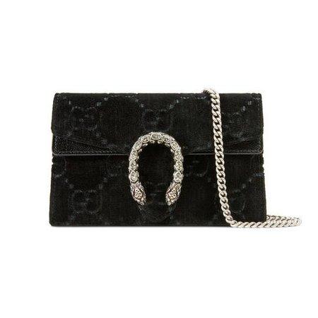Dionysus GG velvet super mini bag in Black GG velvet with black patent leather trim   Gucci Women's Mini Bags