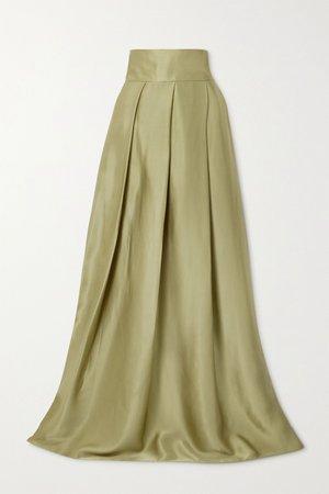 Army green Pleated silk-satin maxi skirt   HARMUR   NET-A-PORTER