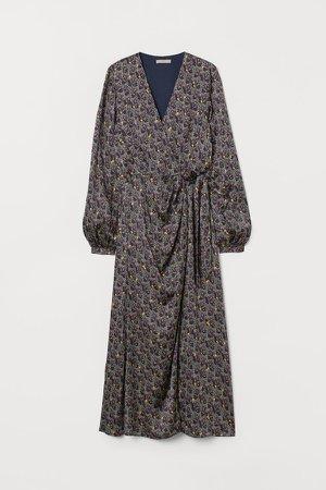 Draped Wrap-front Dress - Blue
