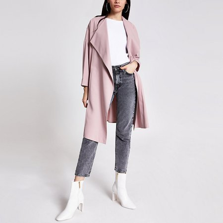 Light pink longline duster jacket | River Island