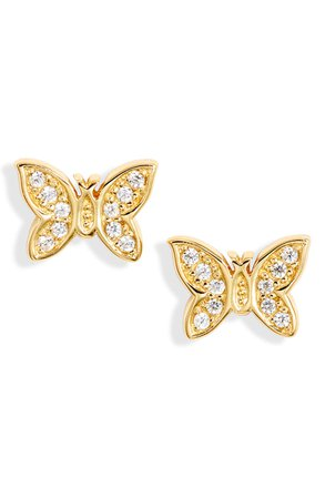 Argento Vivo Sterling Silver Pavé Butterfly Stud Earrings | Nordstrom