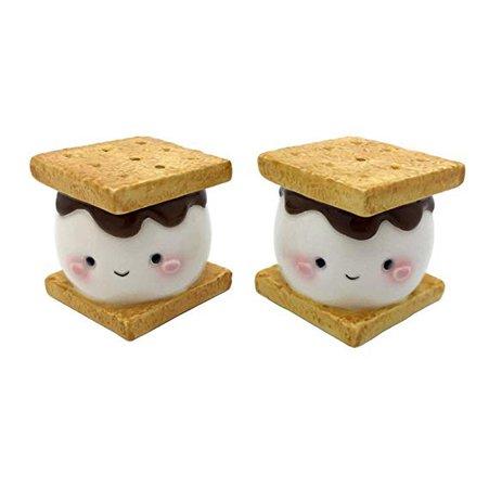 Amazon.com: Marshmallow Smores Salt and Pepper Shaker Set Ceramic: Kitchen & Dining