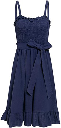 BerryGo Women's Sexy Backless Ruffle Fit and Flare Dress Cocktail Party Midi Dress