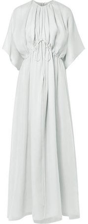 Katelyn Silk-gauze Gown - Light gray