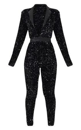 Black Premium Velvet Sequin Plunge Tailor Jumpsuit | PrettyLittleThing USA