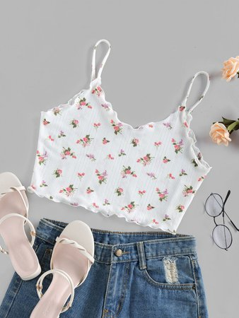[33% OFF] [POPULAR] 2020 ZAFUL Ribbed Flower Lettuce Trim Crop Cami Top In WHITE | ZAFUL