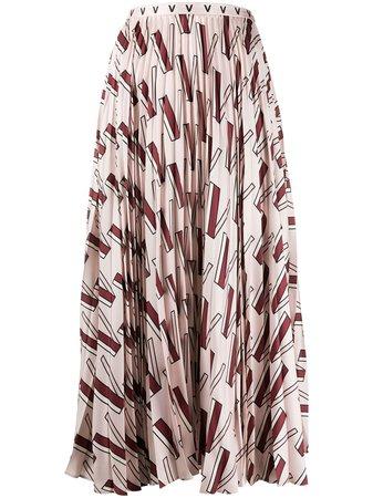 Valentino V-print Pleated Skirt - Farfetch