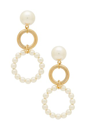 Ettika Double Drop Earrings in Gold & Pearl | REVOLVE