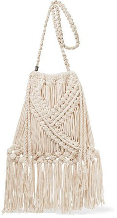 Net Sustain Lucy Fringed Crocheted Cotton Shoulder Bag - Cream