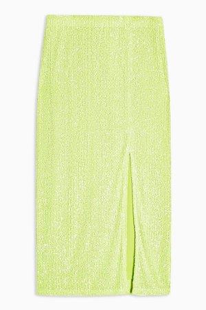 Neon Green Sequin Pencil Skirt | Topshop